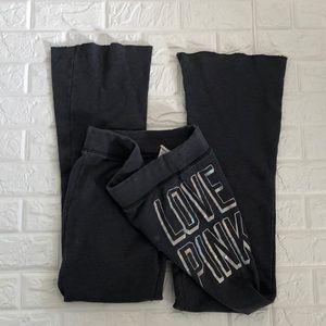 VS Love PINK charcoal flared fleece sweatpants